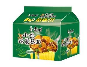 【常温便】康师傅小鸡炖蘑菇五连包(鶏肉とキノコ入り、インスタントラーメン)