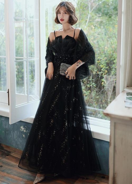 ブラック ロングドレス メッシュ パーティードレス TM0068