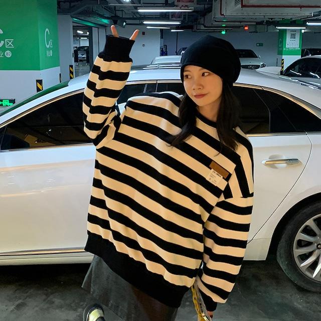 【トップス】可愛いデザイン韓国系長袖ラウンドネックプルオーバーボーダーパーカー53365799