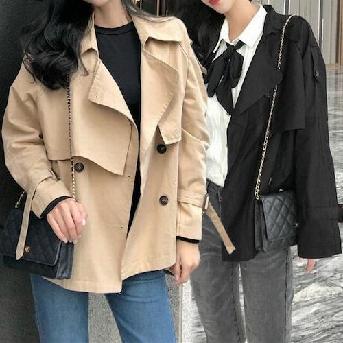 ショート丈 トレンチコート 韓国 ファッション レディース ジャケット ダブルブレスト ウインドブレーカー スプリングコート (DCT-580519448514)