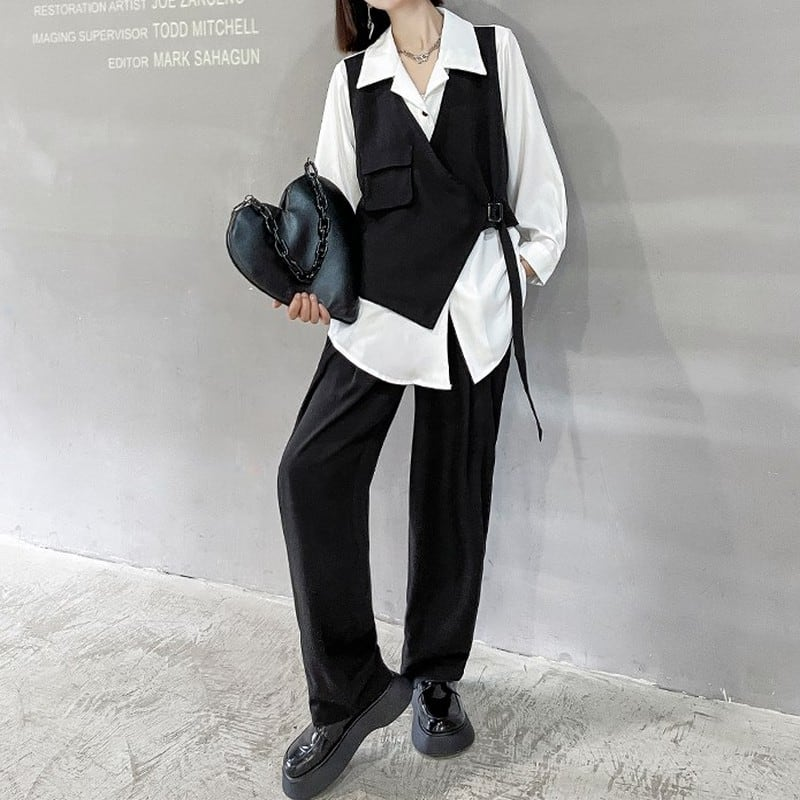 イレギュラーシャツ×パンツツーピース   1-477