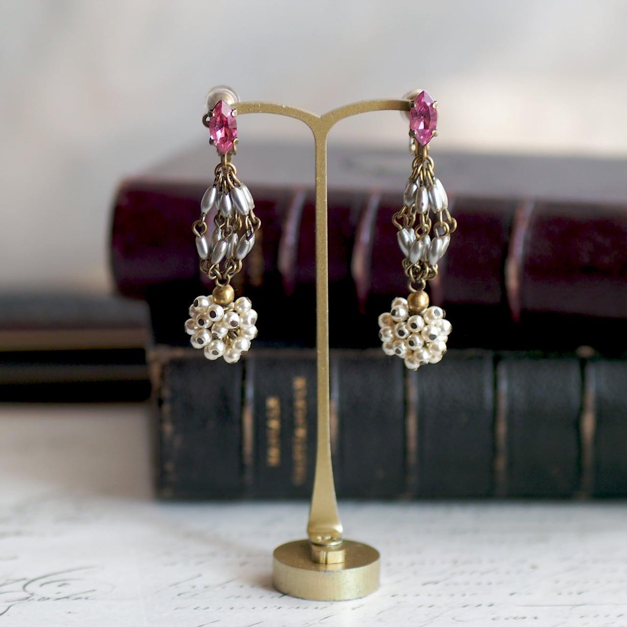 カーテンコール / イヤリング(GlassPearl&PinkGlass)