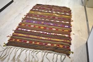 161×122 #1100-0041 フリンジと織り方に特徴トルコ産オールドキリム