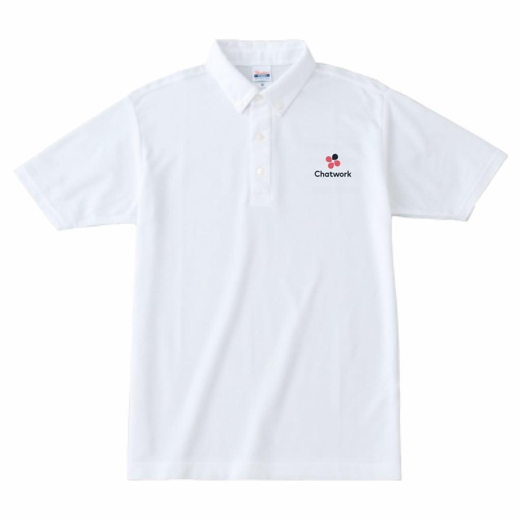 Chatwork ボタンダウンポロシャツ White