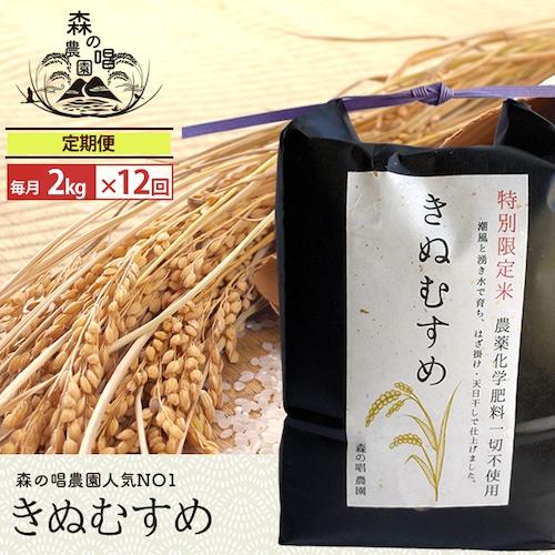 【玄米・定期便】きぬむすめ2キロ/月一回×12カ月