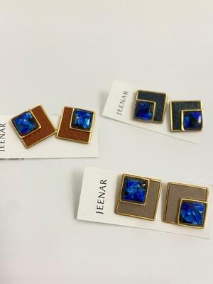 【JEENAR】スクエアホタルガラス×本革ピアス/チタン (PRH-169.168167)