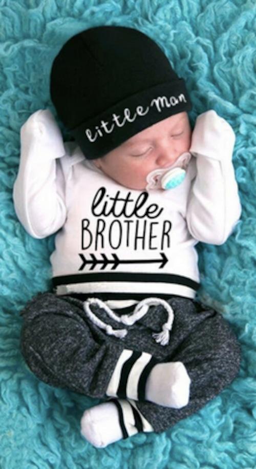 Little Brother♡お洒落&映える♡セルフニューボーンフォト♡ロンパース&パンツ&帽子セット