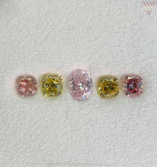 合計  0.66 ct 天然 カラー ダイヤモンド 5 ピース GIA  1 点 付 マルチスタイル / カラー FANCY DIAMOND 【DEF GIA MULTI】