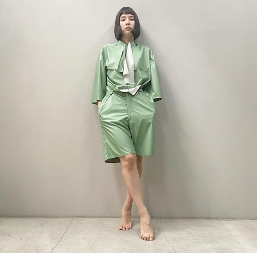 New!! Eco leather suit shorts /Mint (2021 New collection)