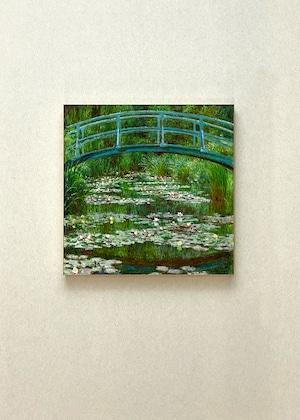 素敵なアートパネル 300mm角 睡蓮と日本の橋  ビンセント・モネ 石膏ボード用ひっかけ金具付き