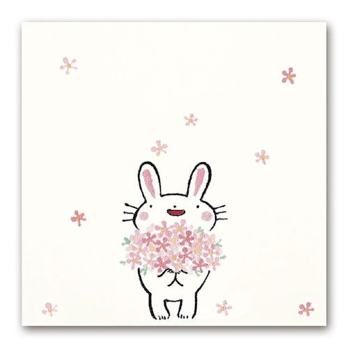 吹出しぽち 花束ウサギ