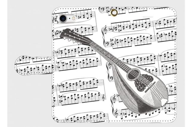 (iPhone用)マンドリンの手帳型スマホケース(楽譜)