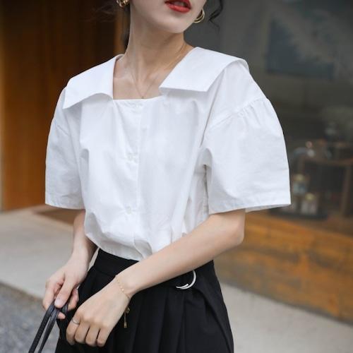 スクエアカラーフレンチシャツトップス ・2072