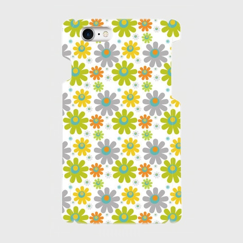 花(緑・黄・灰) / iPhoneスマホケース(ハードケース)