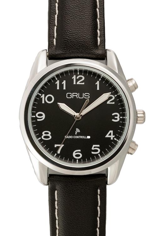 音声で時刻を知らせる ボイス電波腕時計 GRS003 革ベルトタイプ