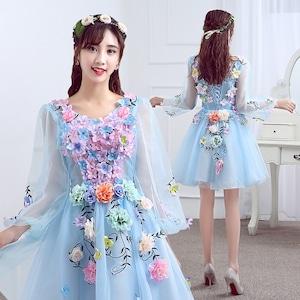 8013カラードレス ショート丈ドレス ウェディングドレス ステージ 忘年会ドレス 結婚式二次会 イブニングドレス Aライン プリンセス 3D フラワー 花柄 発表会 披露宴 演奏会 ブルー 水色 大きいサイズ  小さいサイズ