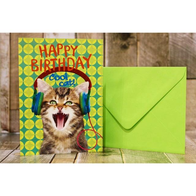 happy birthday/グリーティングカード/ネコ02(お誕生日おめでとう)/浜松雑貨屋 C0pernicus