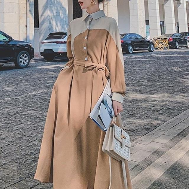 胸元のデザインがアトラクティブな韓国ファッション♡Aラインワンピース