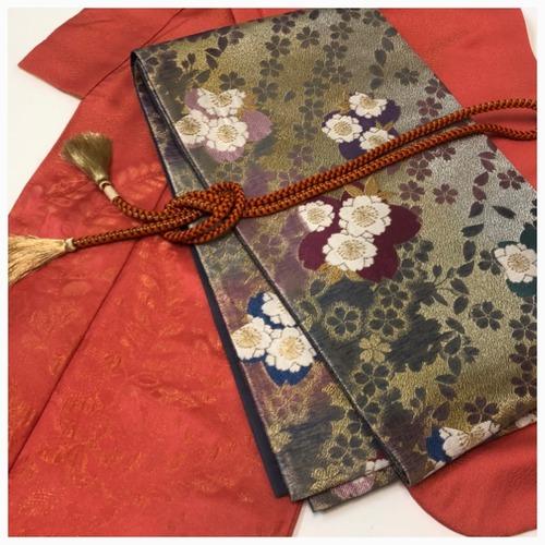 ★ 袋帯 桜  キラキラ 正絹 金彩 振袖に  成人式 ★ 3166