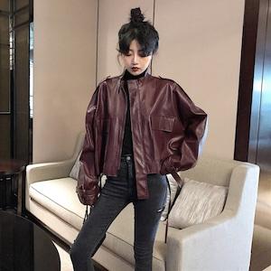 【アウター】ファッション合わせやすいレトロ合わせやすい長袖着痩せジッパーPUジャケット52129418