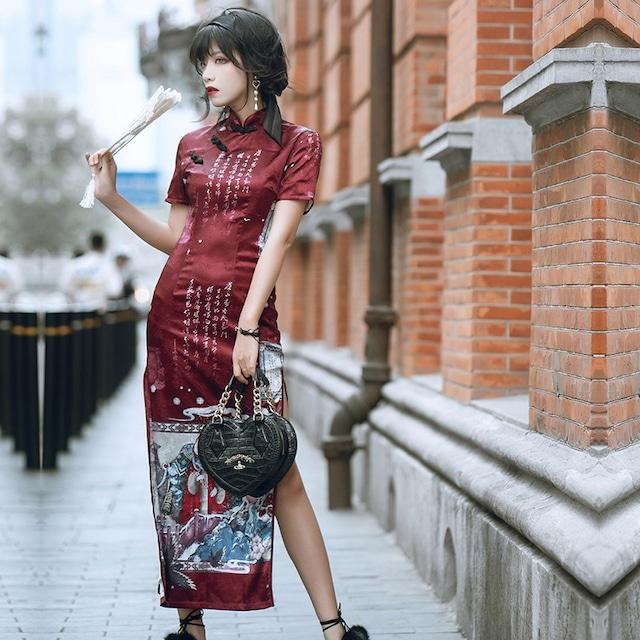 【卿棠シリーズ】★チャイナドレス★ セクシー 2color チャイナ服 ワンピース プリント 大きいサイズ 赤 青 ロングドレス