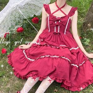 キャミソールワンピース ロリータ服 レース ロリータ衣装 ドレス 可愛い ワンピース フリル 学生 lolita 9905