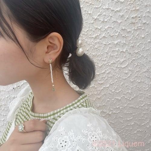 YUKI × Liquem / パールロングピアス(GRN)