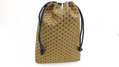 合財袋(中)紺/黄 麻の葉柄