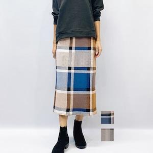 LAGUNAMOON(ラグナムーン)ワイドチェックニットタイトスカート 2021秋冬物新作[送料無料]