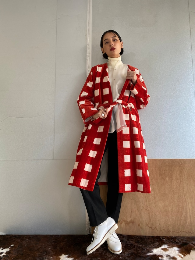"""Gown coat """"block print big size gingham check red"""" cotton velvet"""