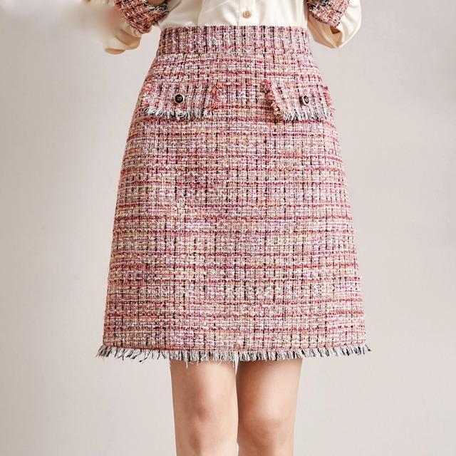 【即納】Mサイズ ポケットデザインミニ丈ツイードスカート