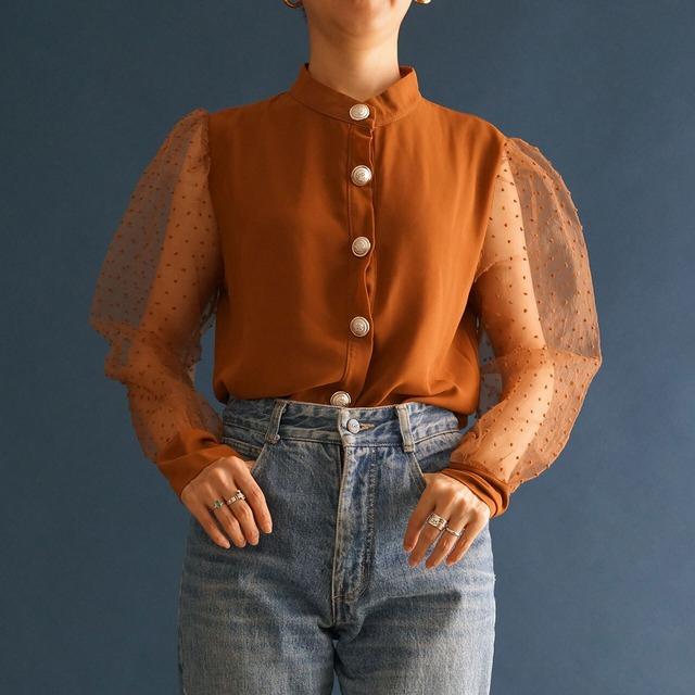 【送料無料】80's Brown Dotted Sheer Sleeved and Golden Button Blouse