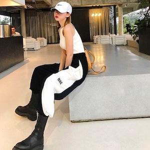 【ボトムス】ストリート系スポーツダンス切り替えファッションカジュアルパンツ42916412
