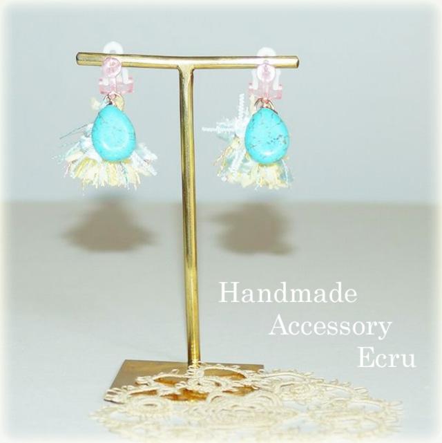 Handmade Accessories Ecru: ターコイズとタッセルのイヤリング イエロー (for kids)