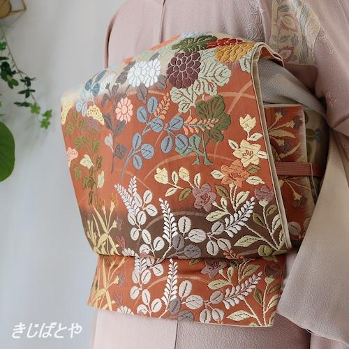 正絹 樺色の唐織の袋帯