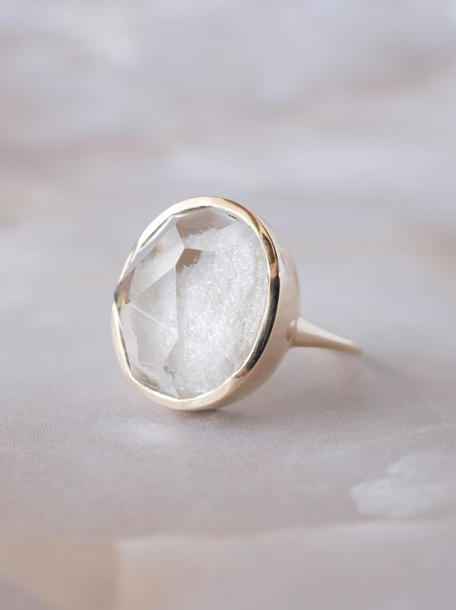 Faceted White Garden Quartz Ring