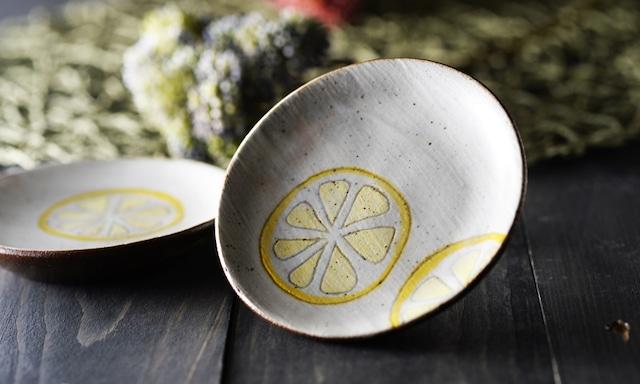 丸平皿|会津本郷焼|檸檬