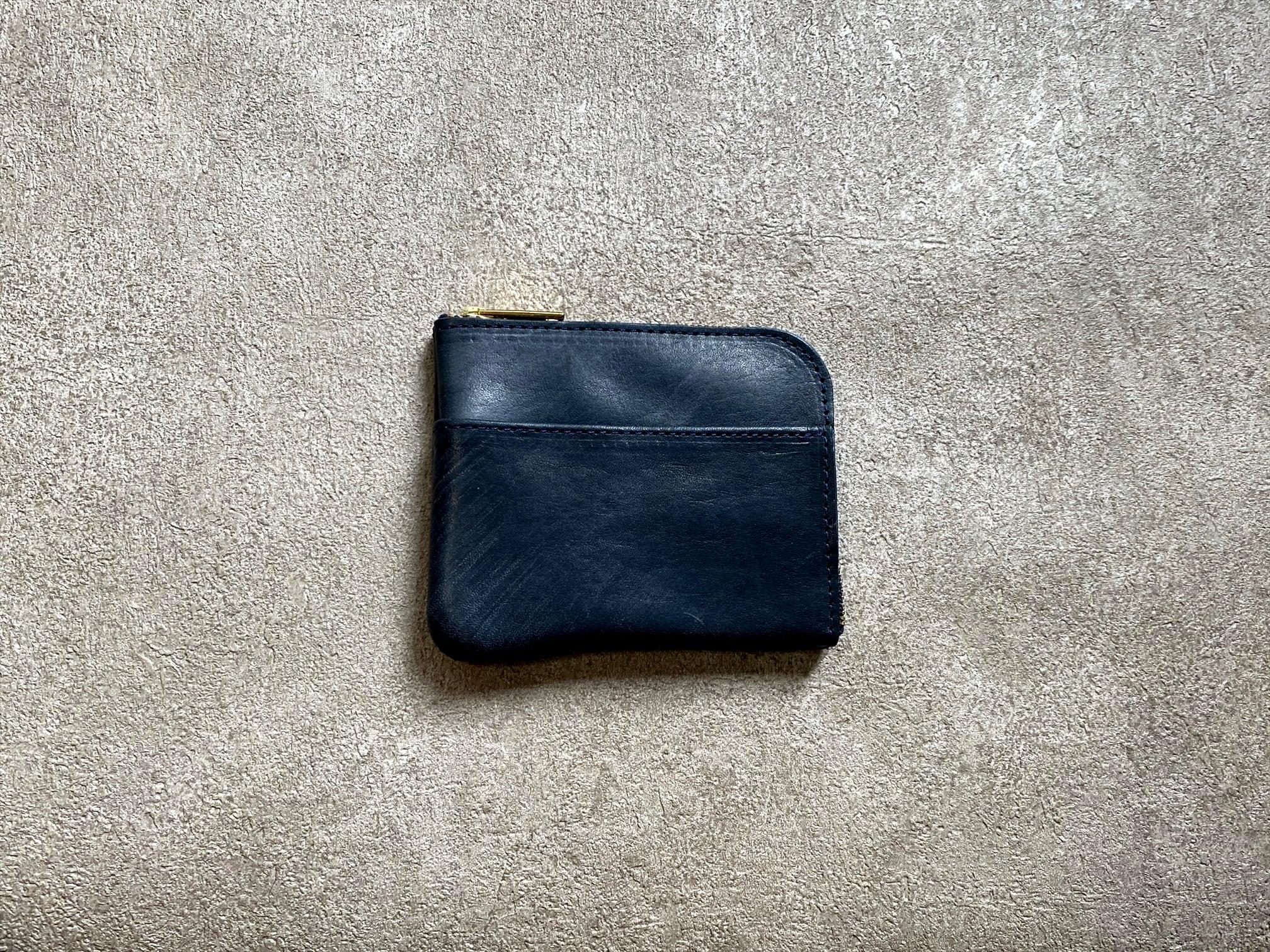 L字型スモールウォレット(ヌメ革ロウ引き) カラー:ネイビー