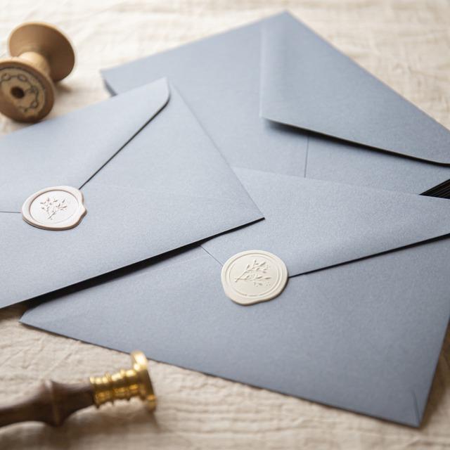 コットンカラー封筒 ダスティーブルー(洋1)  10枚