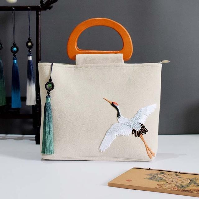 チャイナ風バッグ 刺繍 プレゼント パーティー 通勤 民族風 個性的 鶴柄 リネン ベージュ