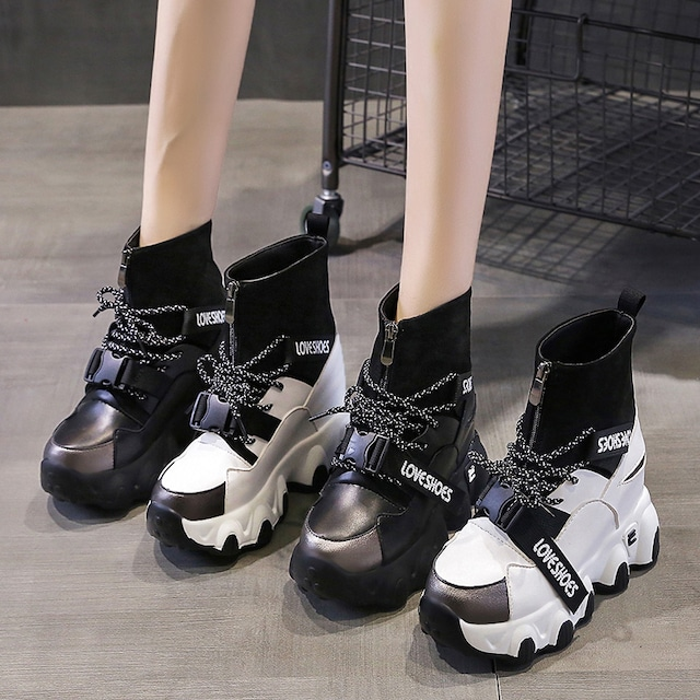 【シューズ】人気高いカジュアルプラットフォーム切り替え暖かい丸トゥショート丈ブーツ35365290