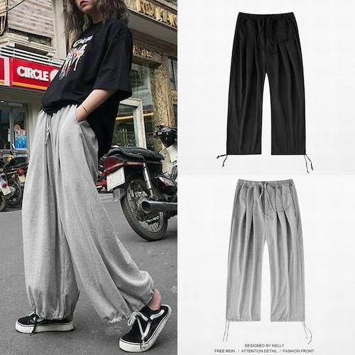 ユニセックス スウェットパンツ 韓国ファッション 裾紐 大きいサイズ ストリート系 韓国ファッション メンズ レディース オルチャンファッション DCT-596060214295