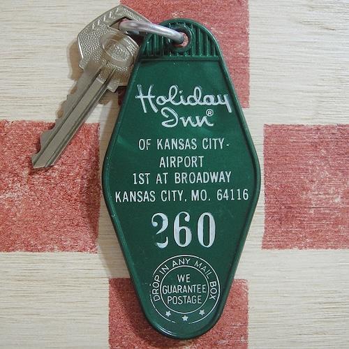 アメリカ ホテル  Holiday Inn[ホリデイ・イン]ヴィンテージ 260ルームタグ&キー付ホルダー(緑色)