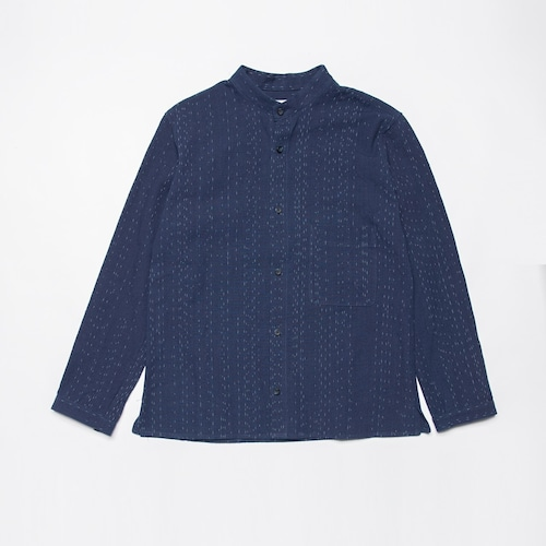 <OSOCU> Bingo-fushiori band collar shirt 備後節織 小雨縞 変形バンドカラーシャツ 藍染 日本製