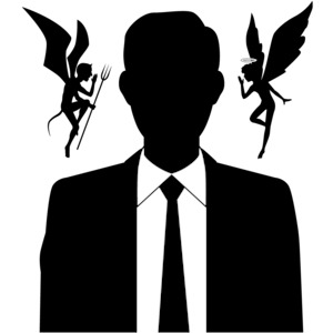 Seduced male businessman