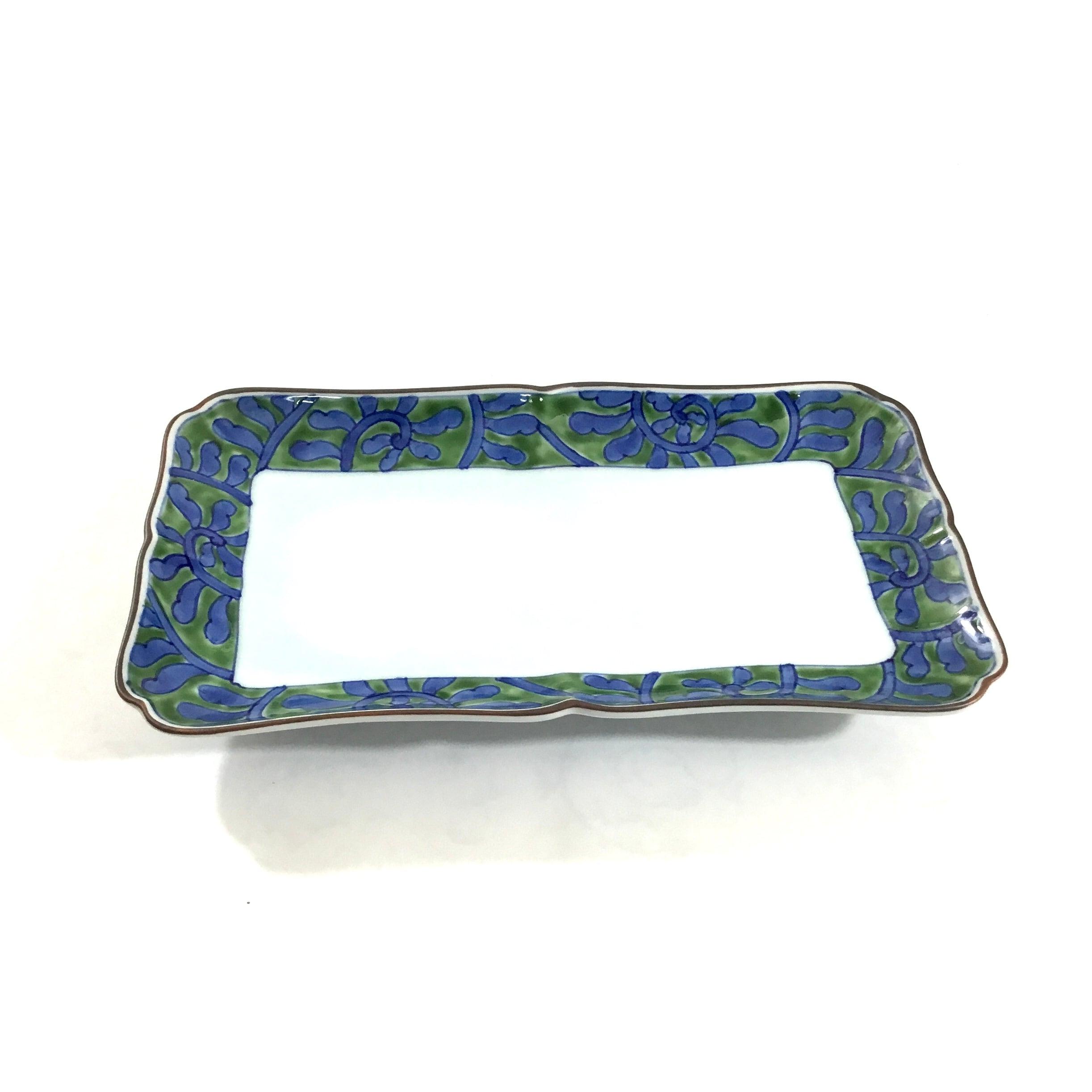 緑彩唐草焼き皿