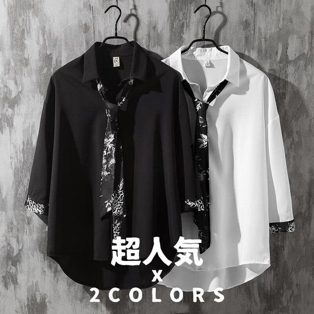 【トップス】「*ユニセック」絶対欲しい韓国系七分袖POLOネックネクタイ付きシャツ29617289