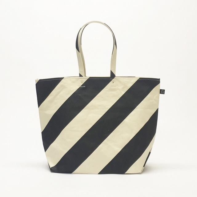 Sac du marché /bold shima × stripe マルシェトート/ 墨色 x 太縞