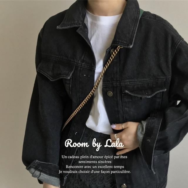【即納】Black denim jacket / ジャケット (black) LE202216