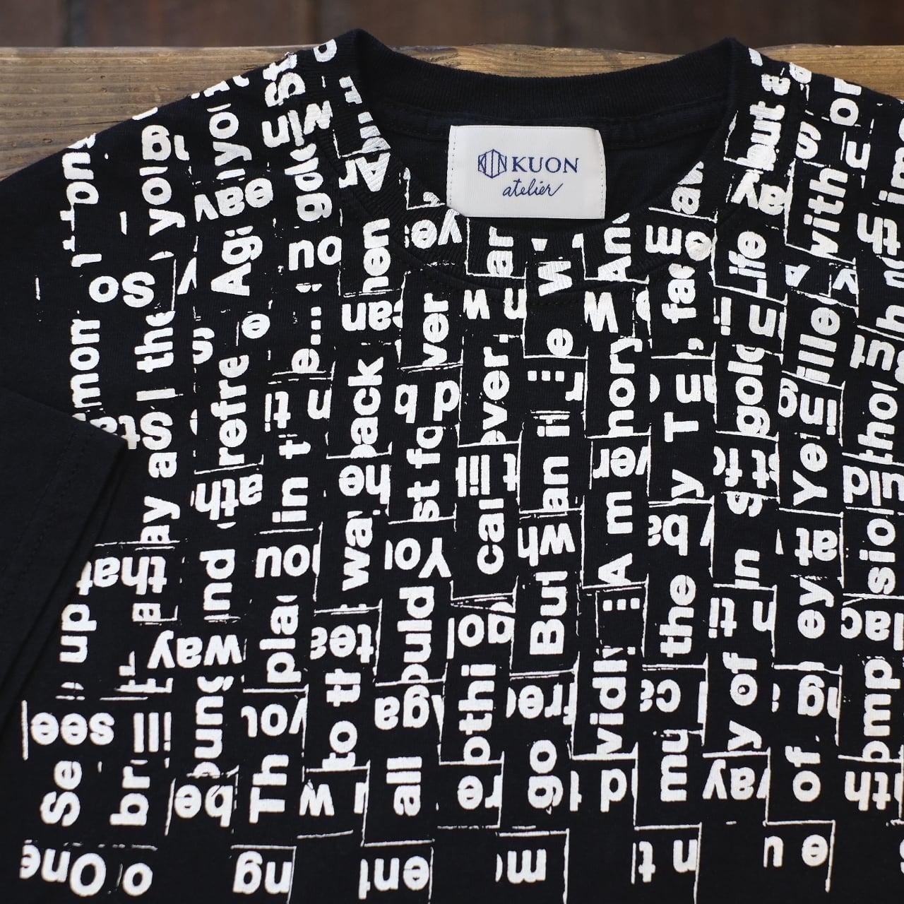 KUON×TAGS WKGPTY 半袖Tシャツ ブラック WOVEN SONG